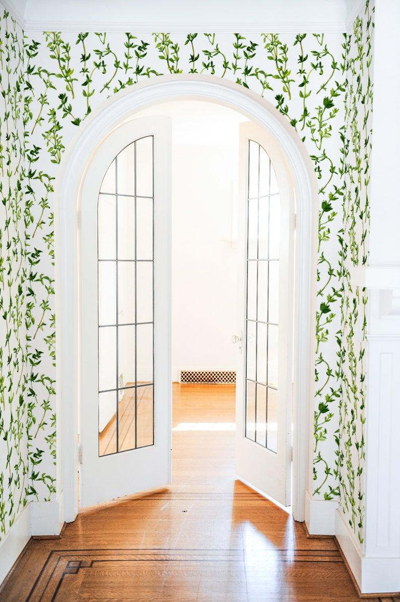 Watercolour Leaf Wallpaper, Removable Wallpaper, Self