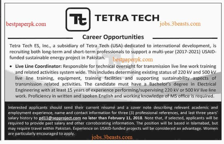 TETRA TECH Company is Offering Job at different posts