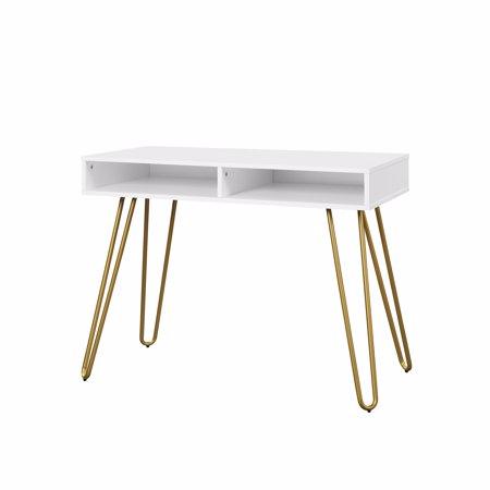 Mainstays Hairpin Writing Desk Multiple Finishes Walmart Com White Desk Gold Legs Writing Desk White Desk Gold