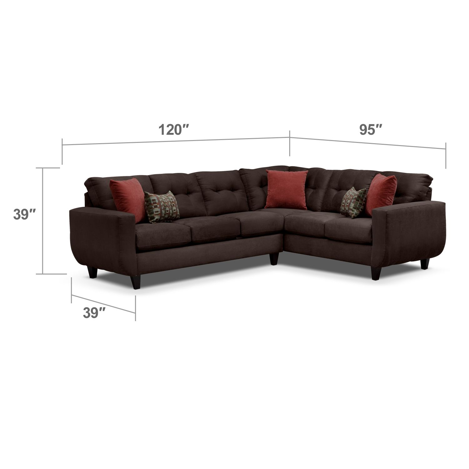 West Village Chocolate II 2 Pc. Sectional | Value City Furniture ...