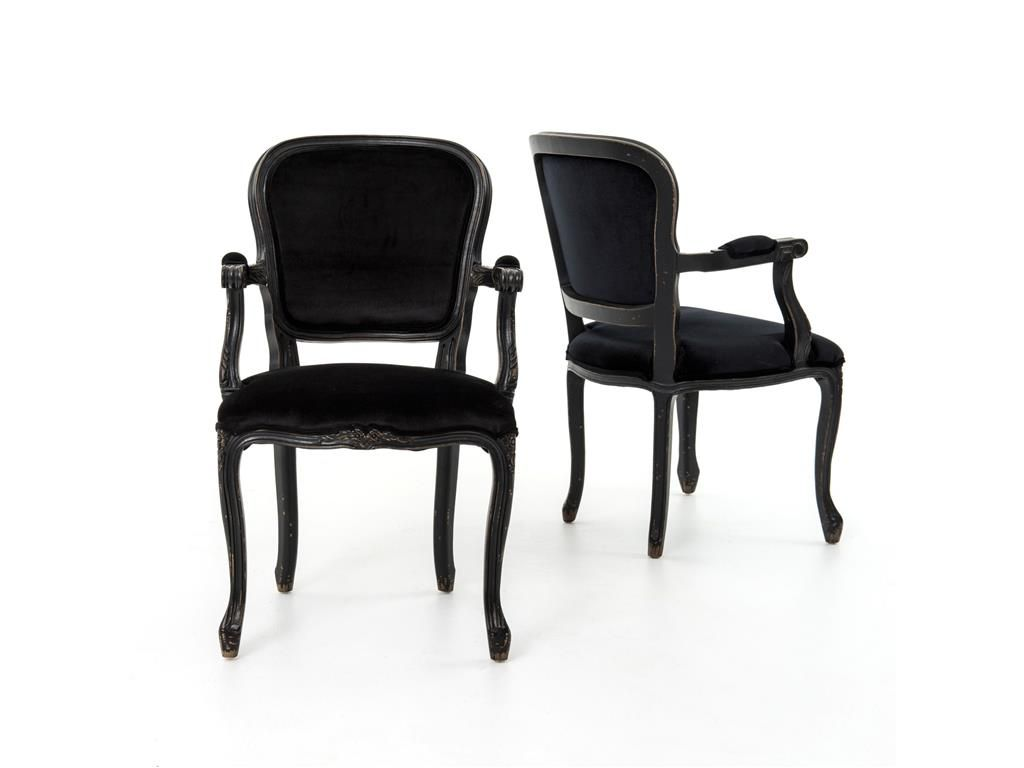Home Office Orleans Arm Chair-French Black CNAL-17-119
