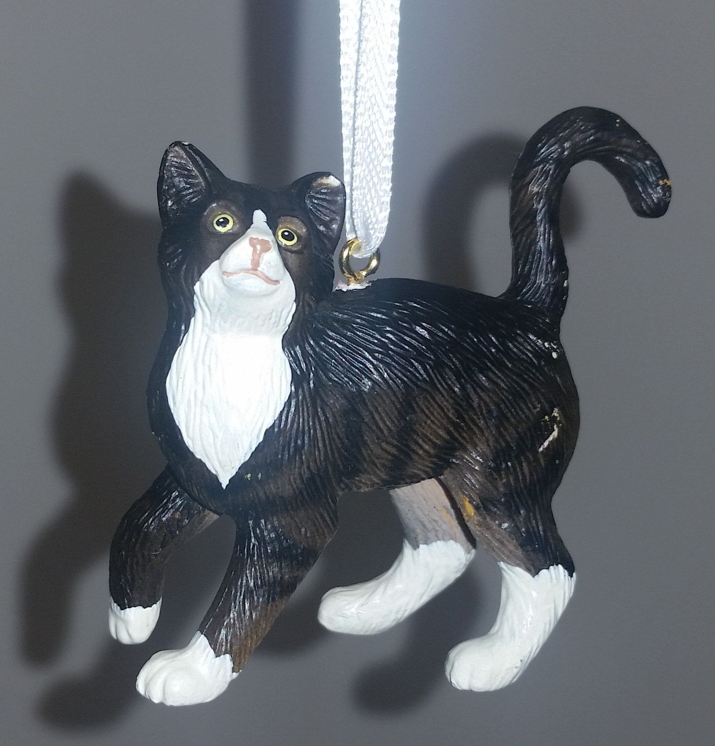 Black and White Cat Christmas Ornament Decoration by