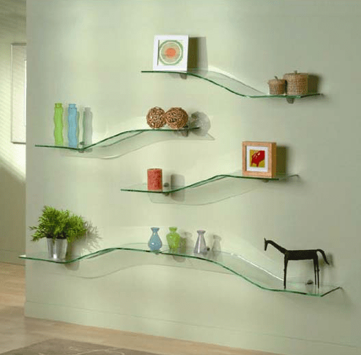 How to decorate glass shelves in living room | Glass wall ...