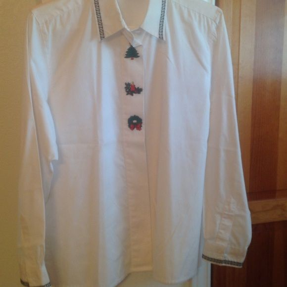 Merry Merry Christmas Shirt Button down Christmas shirt. Christmas tree, candle and wreath.  Collar and cuffs have a pretty border.  No rips or stains, only worn one Christmas to church. Yves st clair Tops Blouses