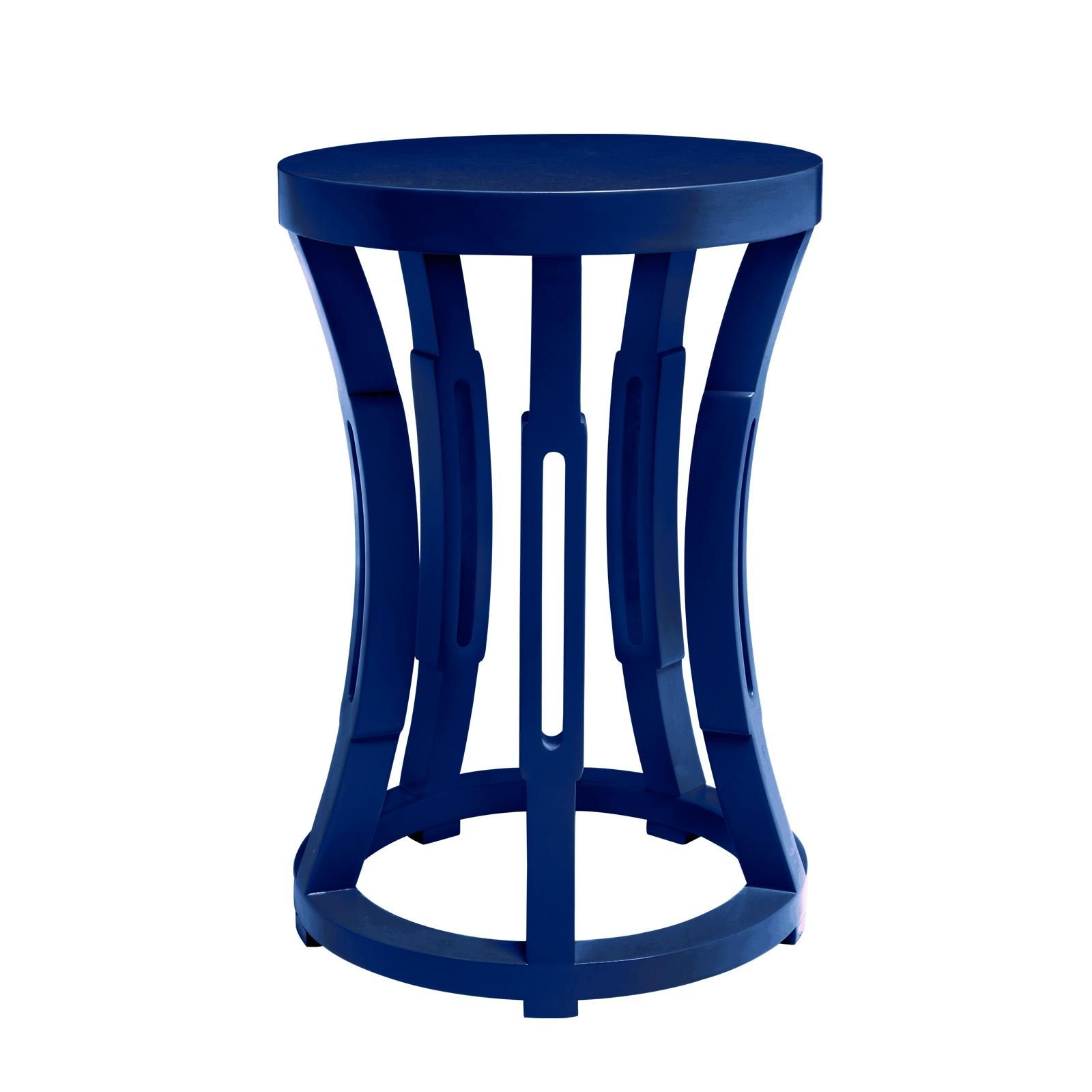 Superieur Hourglass Stool/Side Table, Navy Blue   Bungalow 5