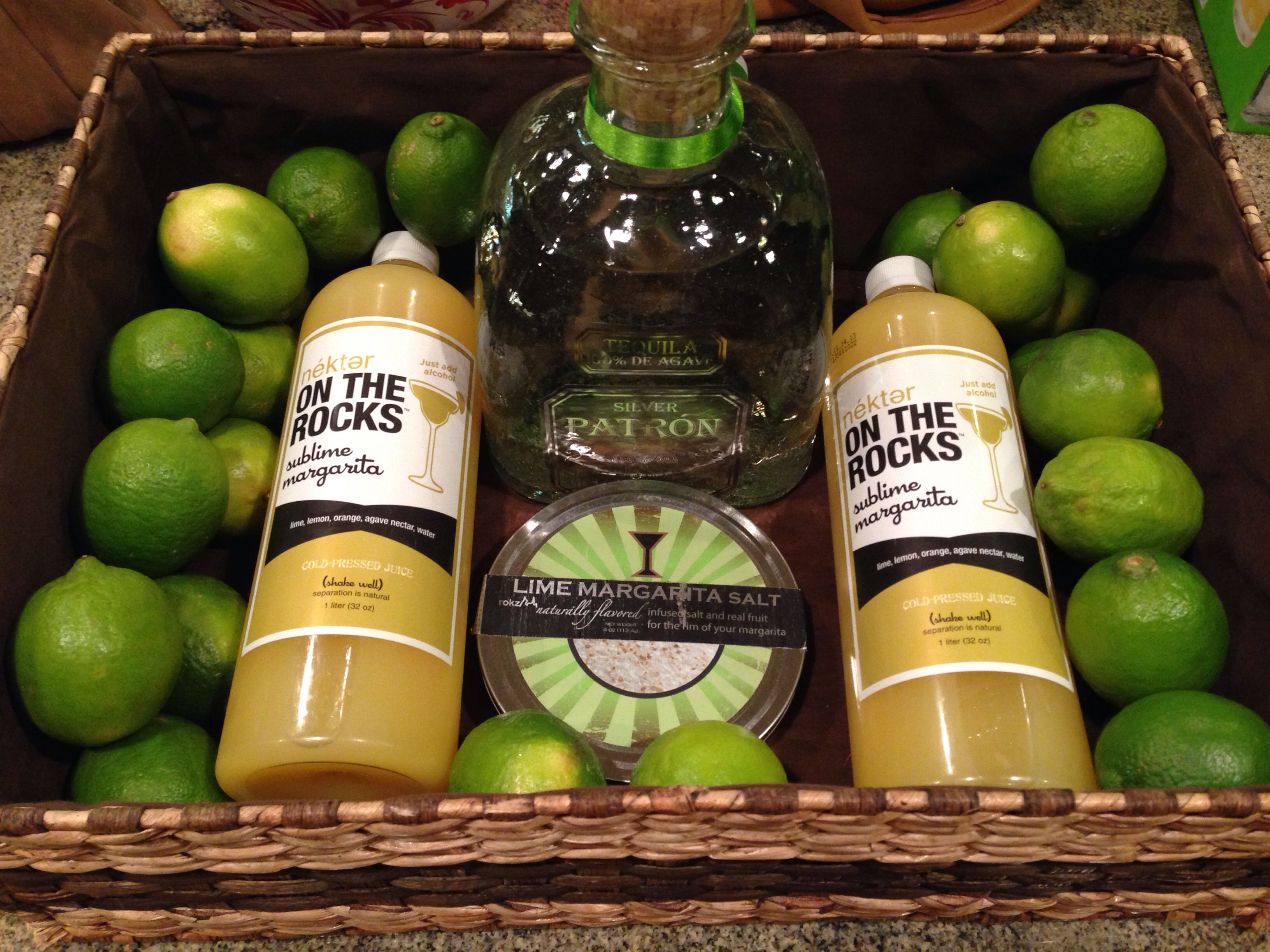 Skinny margarita gift basket - nekter juice, patron tequila, salt and lime!