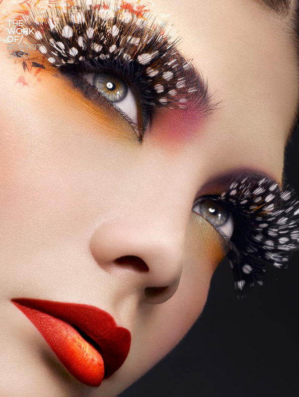 Avant garde makeup by Robert Jaso Feather eyelashes