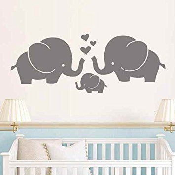 Elephant Family Wall Decal Art Nursery Decor For Baby Room Kids Gray S