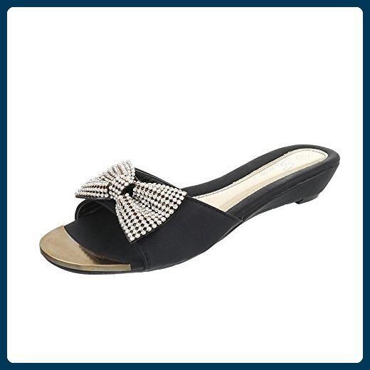 Pantoletten Damen Schuhe Jazz Modern Keilabsatz Wedge Strass