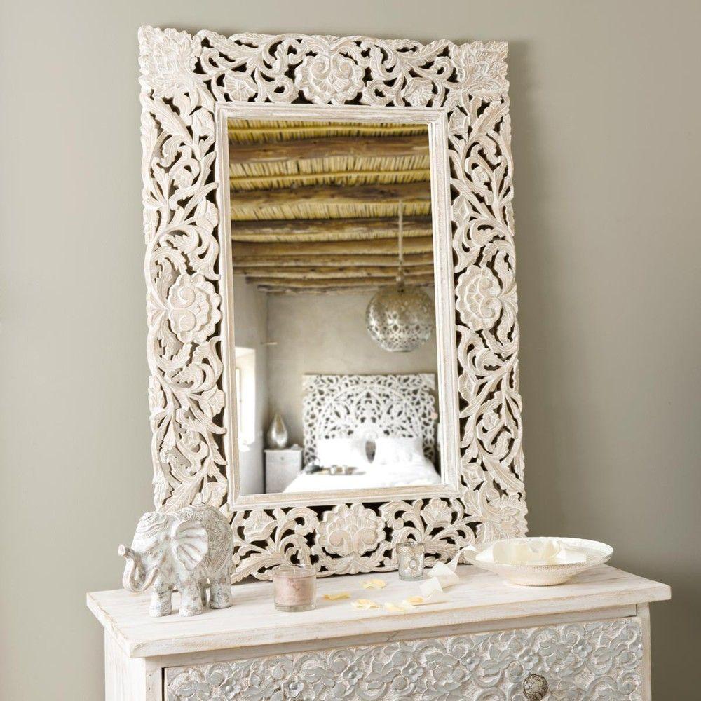 Specchio in mango sbiancato 76x106 - | Camera letto | Pinterest ...