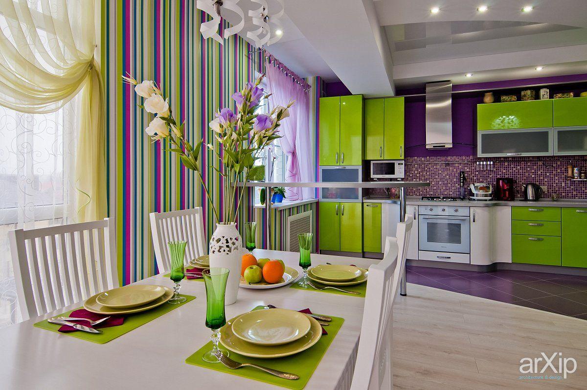 Сиреневый | Яркие кухни, Идеи домашнего декора, Интерьер
