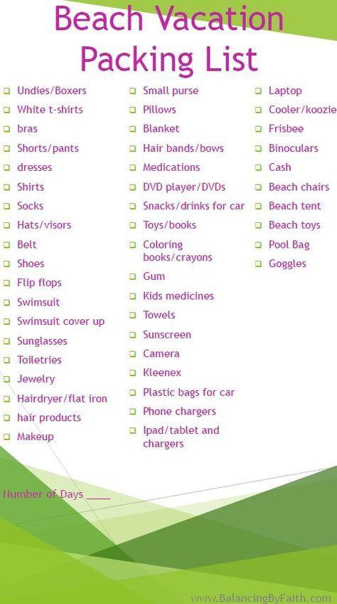 Beach Vacation Packing List Vaction Pinterest Călătorii