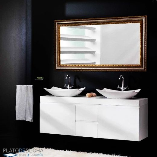 Mueble de ba o con doble lavabo lupi este mueble de for Lavabo doble seno con mueble