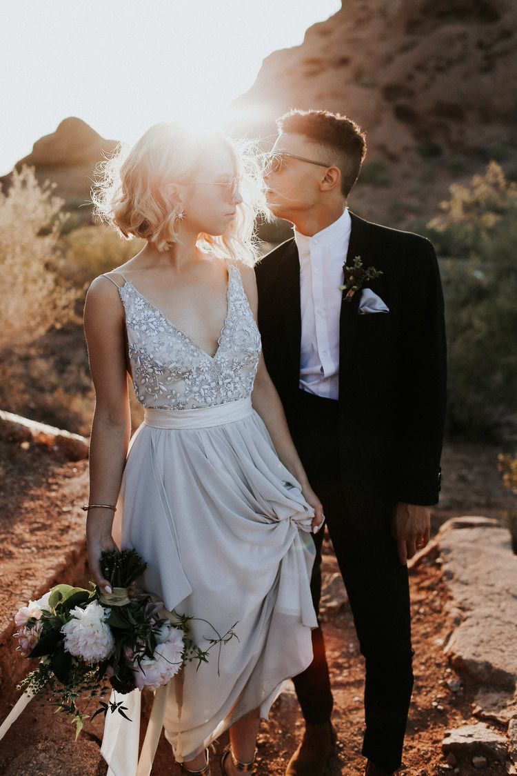 Hipster wedding dresses  Real Wedding Abby  Charles  DesertChic Arizona Wedding in