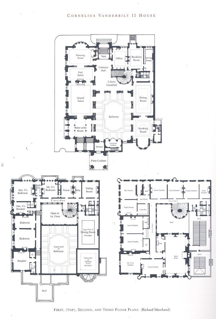 Cornelius Vanderbilt Mansion, Fifth Avenue, floor plan. | Floor ...