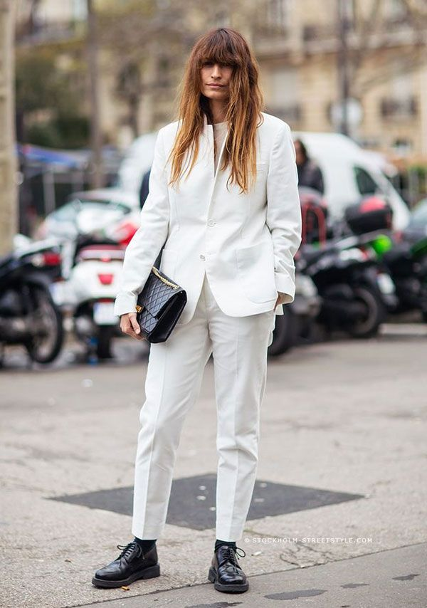 all white black shoes street style