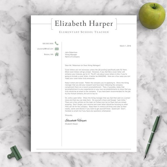 Teacher Resume Template For Word  Pages   By Landeddesignstudio