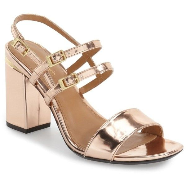 Calvin Klein 'Caisiey' Block Heel Sandal (Women) ($40) ❤ liked on Polyvore featuring shoes, sandals, blush nude leather, block heel sandals, nude sandals, calvin klein sandals, nude block-heel sandals and heeled sandals