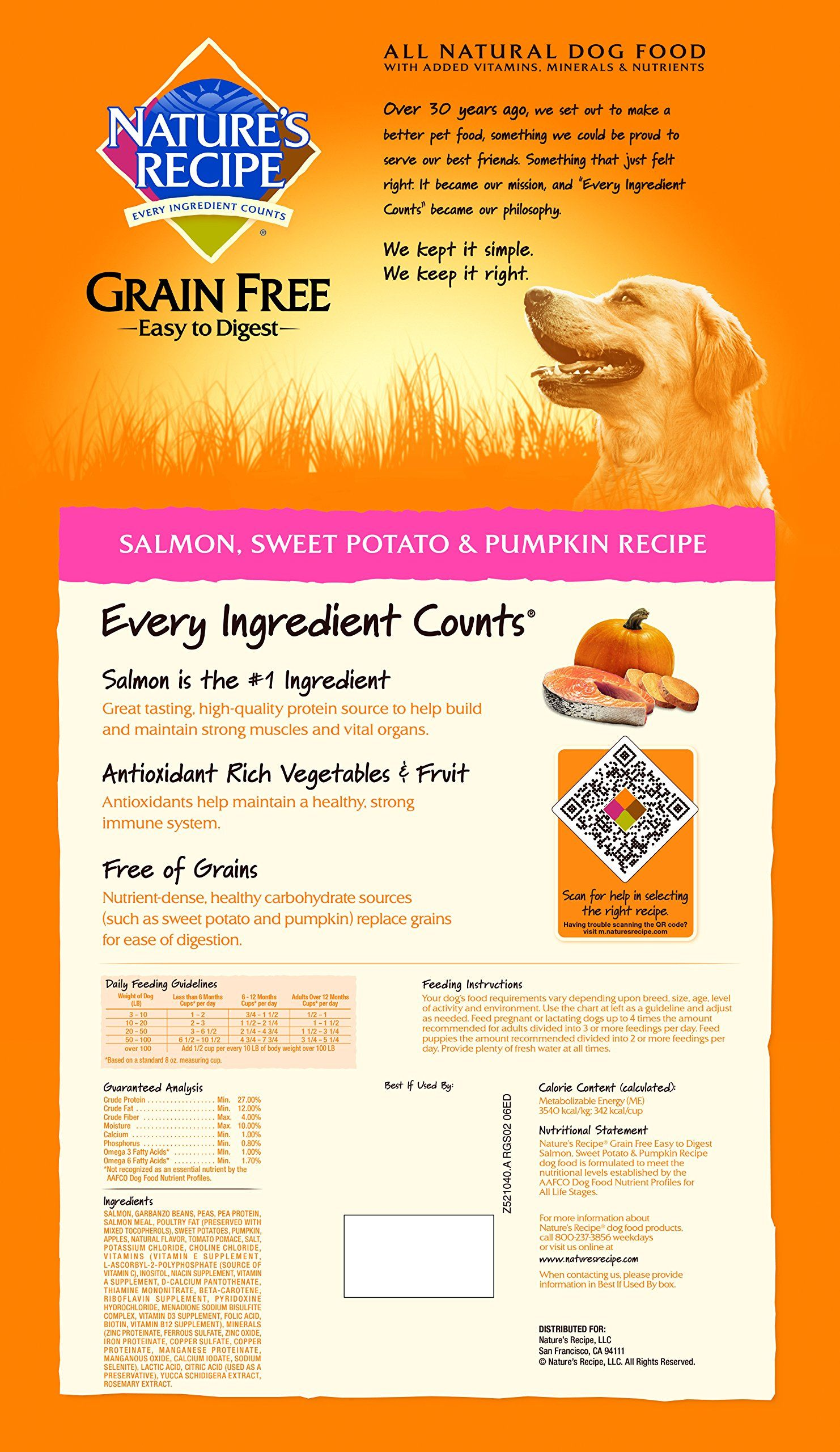 Natures Recipe Grain Free Easy To Digest Dry Dog Food Salmon Sweet