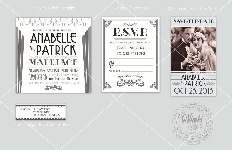 Art Deco Styled Wedding Invitation Art Deco Invitations Gold Wedding Invitations Guest Book Canvas