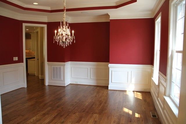 Red walls, white trim - love!! | Red dining room, Dining ...