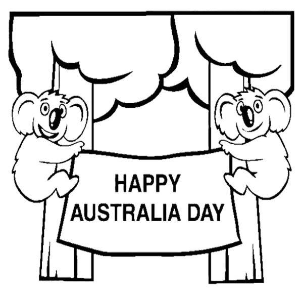 happy australia day colouring page