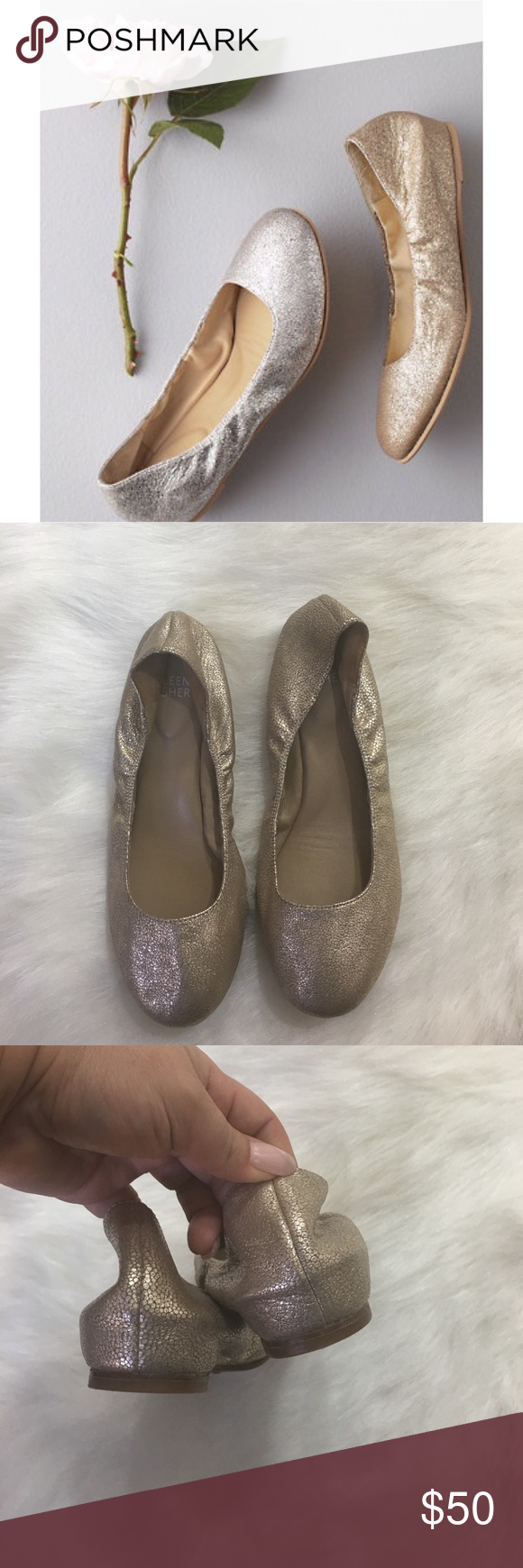 Eileen Fisher slip-on gold ballet flat These are so cute! One inch hidden wedge, round toe ballet flat. Leather. Size 6 1/2. Stretch uppers and padded footbed. Gold pewter. Leather upper and leather sole. Excellent condition!! Eileen Fisher Shoes Flats & Loafers