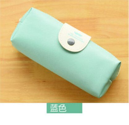 New Cute Kawaii Pure Color Leather Pencil Case School Pencil Bag For Girls Korean Stationery Free Shipping 680
