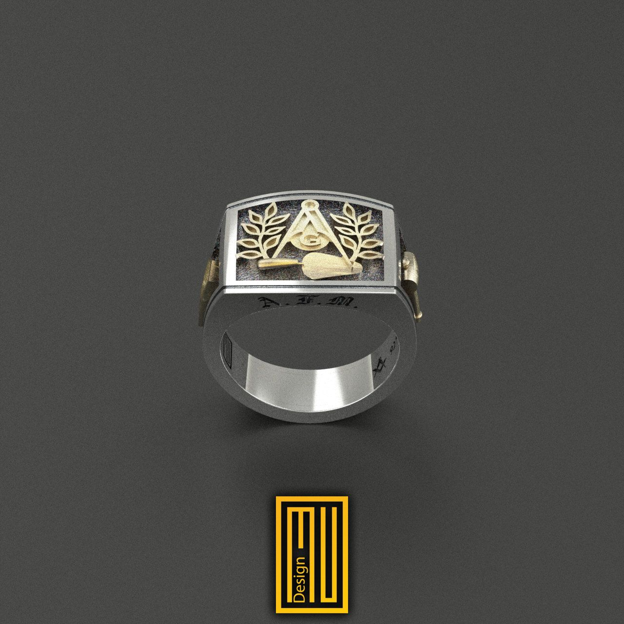 Masonic Ring Unique Design for Men 925K Sterling Silver With