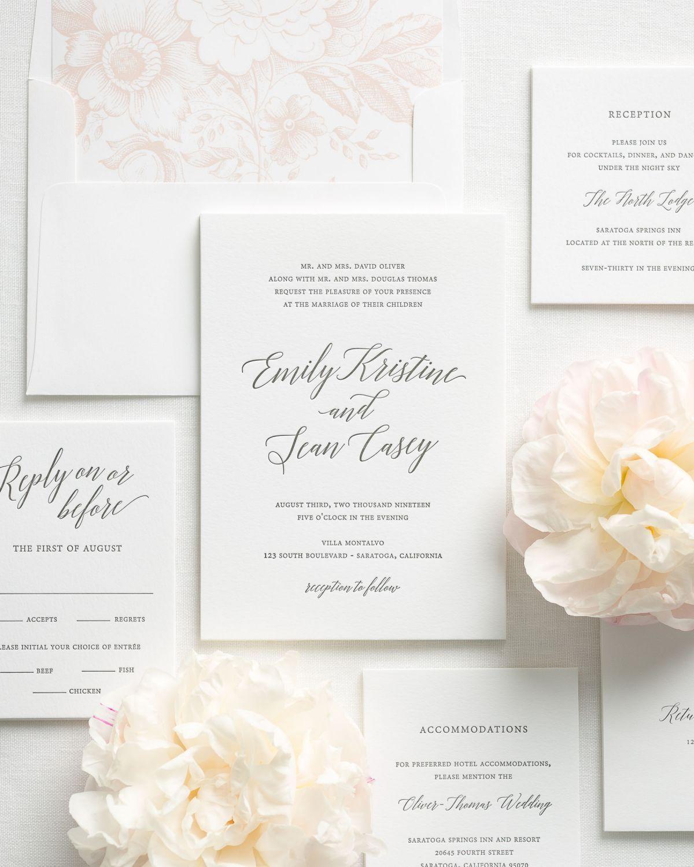 Garden romance letterpress wedding invitations wedding pinterest