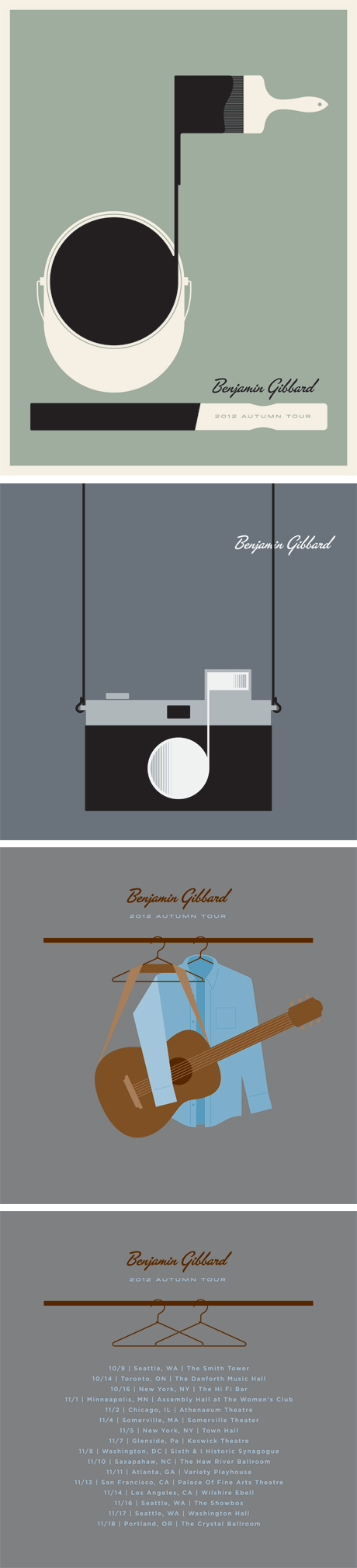 A beautiful set of Benjamin Gibbard posters designed by Jason Munn @munnjason #TheSmallStakes