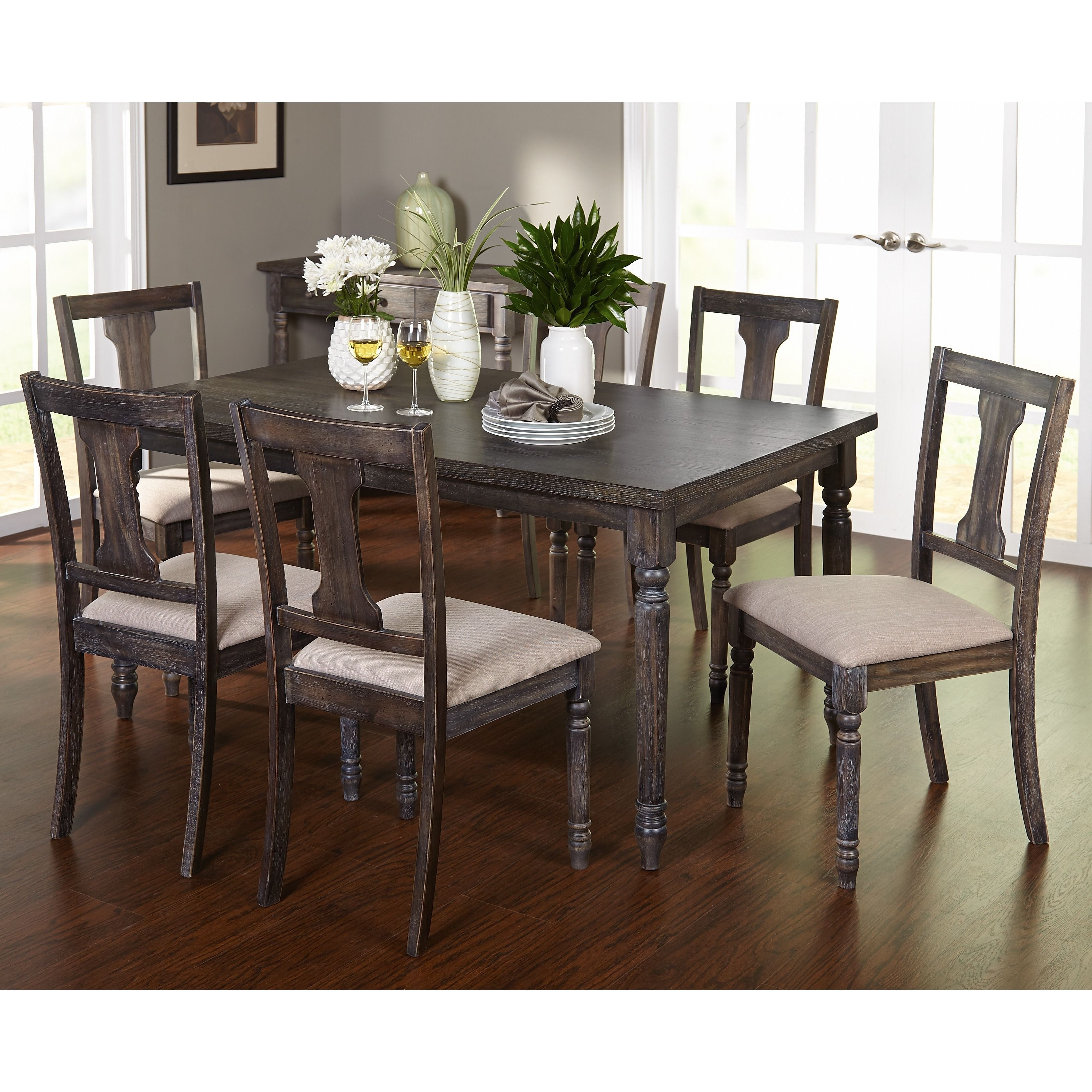 Simple Living 7 Piece Burntwood Dining Set By