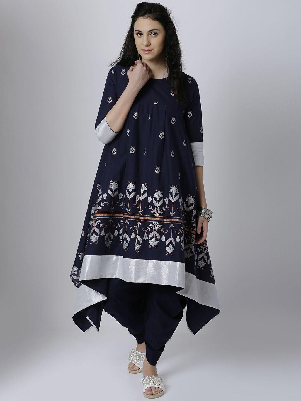 26f98147bc0 Vishudh Women Navy Blue   Silver-Toned Printed Anarkali Kurta  navy  blue   printed