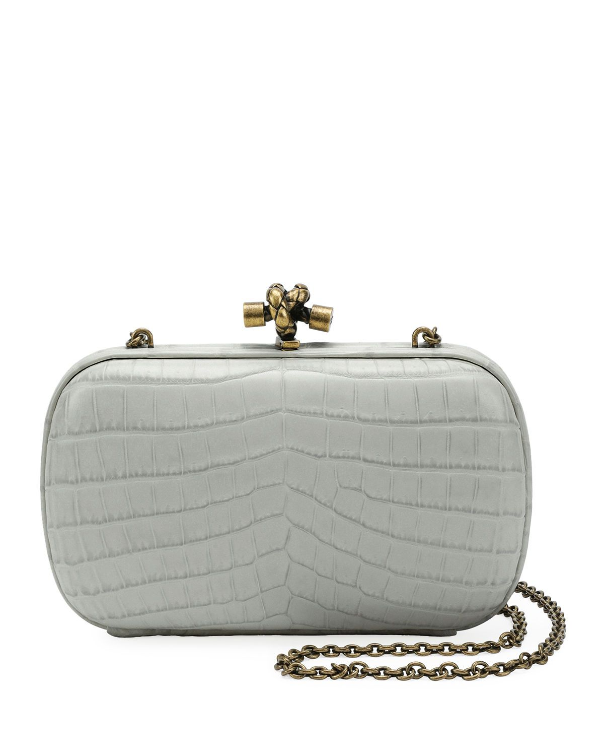 e0680c650b45 Bottega Veneta Chain Knot Crocodile Clutch Bag