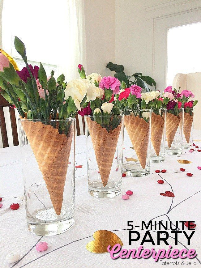 15 Centerpiece Ideas For A Dinner Party Party Centerpieces Ice Cream Birthday Party Waffle Cones