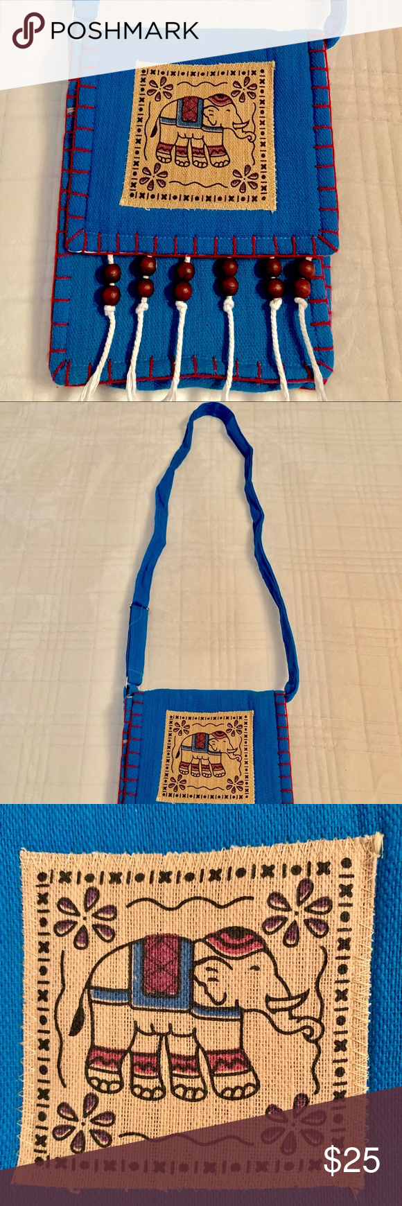 "NEW ITEM: Blue Elephant Shoulder Bag. Blue Elephant Shoulder Bag made in Thailand. Flap opening with two outside zipper pockets. One pocket in front and one in back. Dimensions: Width: 7.5"", Height 10"". Strap Length: 23"". Color: Blue and Beige. Brand New. Bags Shoulder Bags #elephantitems"