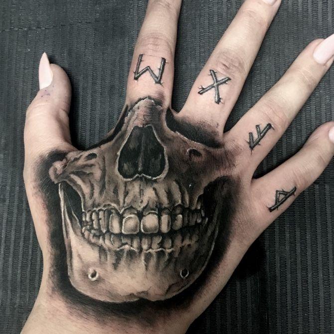 #tattoo #blackandgrey #skull #runes #skulltattoo   Oct 9th 2018   720964