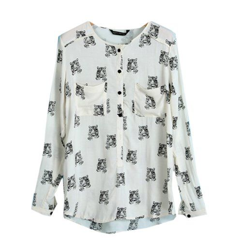 Finejo Women's Europe Style Tiger Pattern Print Long Sleeve Chiffon Shirt Blouse