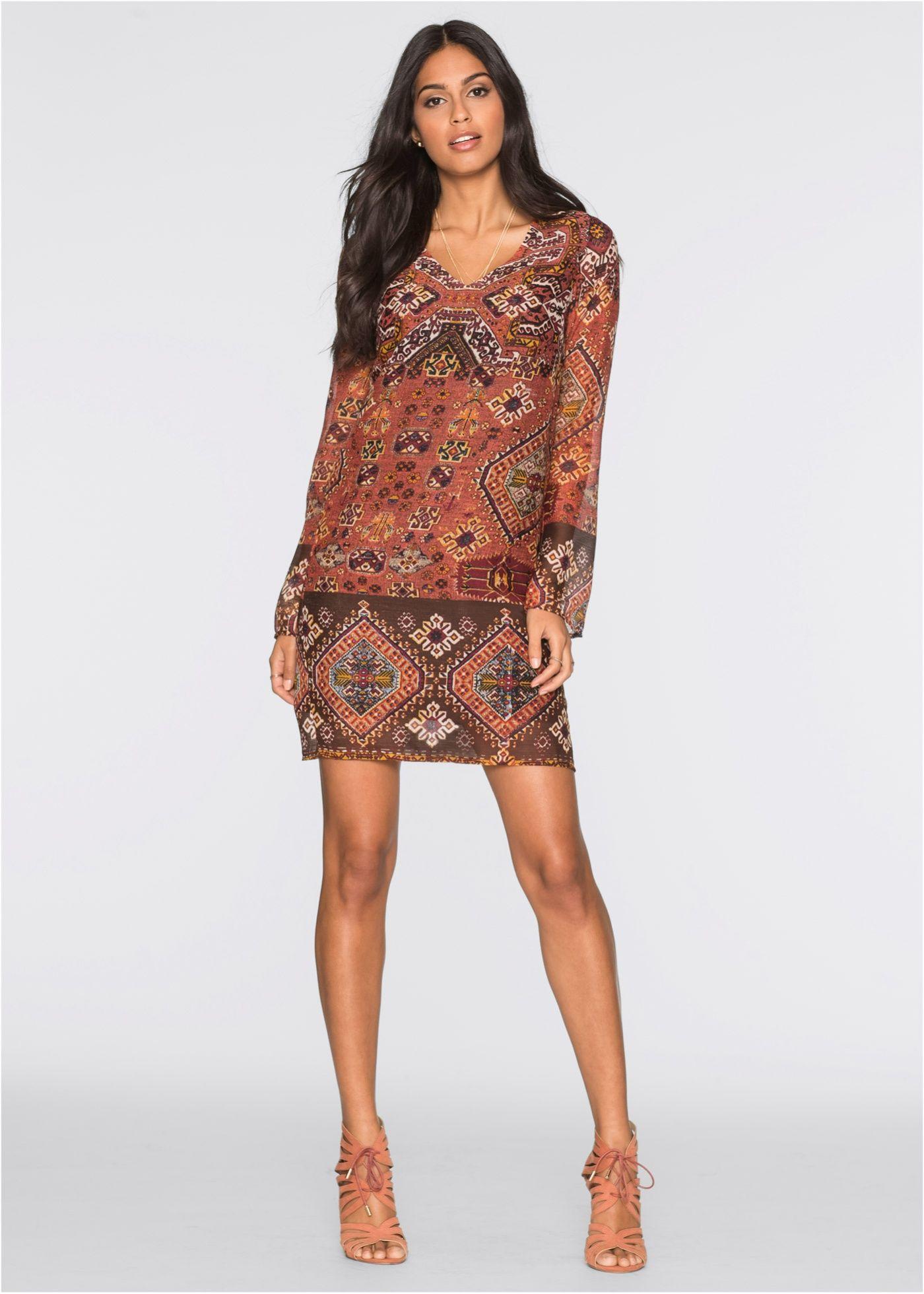Šaty oranžovo-černo-tmavě hnědý vzorem - BODYFLIRT koupit online -  bonprix.cz c82e7586630