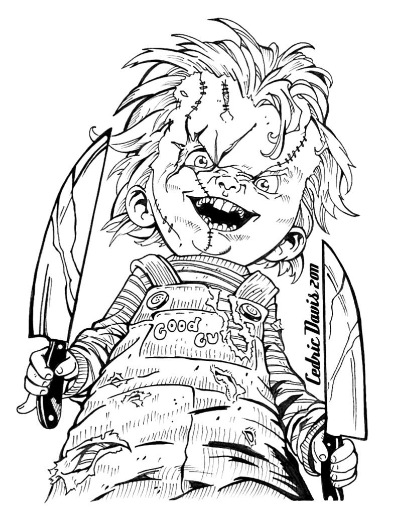Chucky Drawings Halloween Coloring Pages Scary Coloring Pages