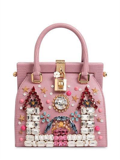 Castle Embellished Leather Dolce Bag Pink 4445