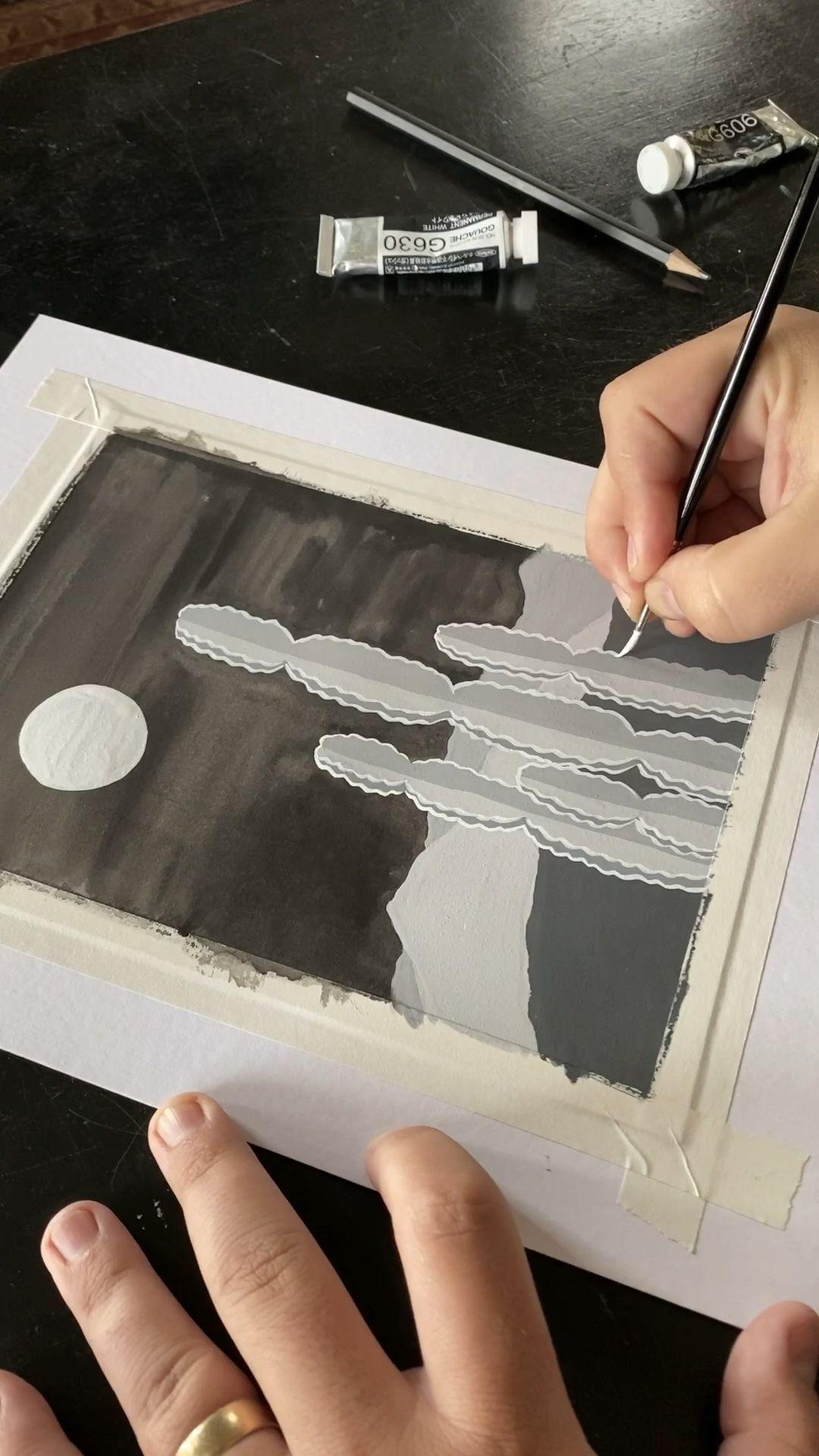 Monochrome Gouache Painting Monochrome Malerei Malerei Lernen