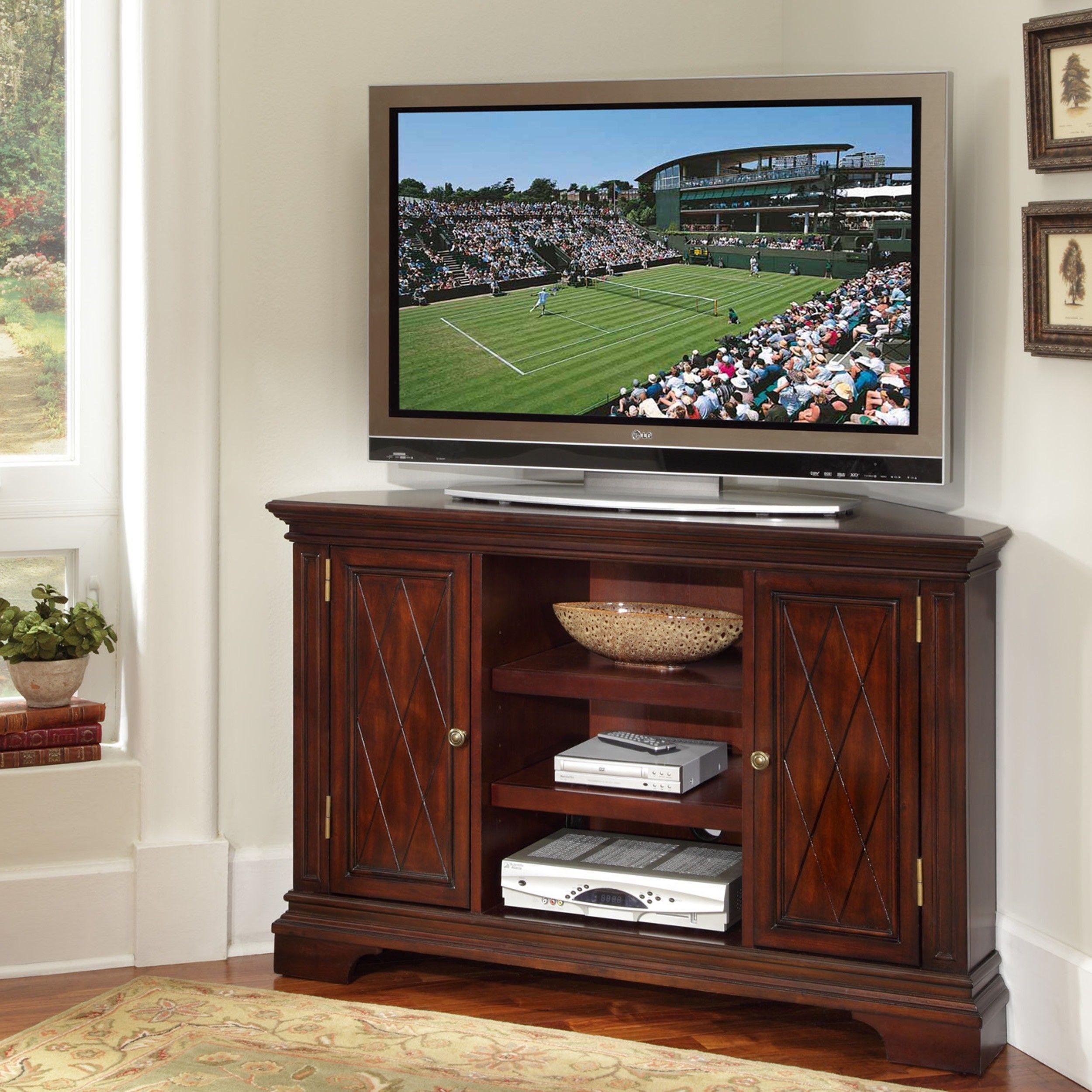 Muskoka alpine 62 in wide electric fireplace tv stand burnished - Furniture Corner Dark Varnished Cherry Wood Tv Cabinet