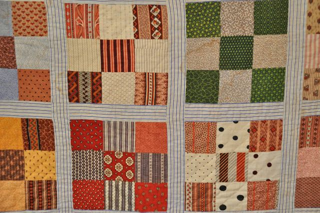 Birthday Antique Quilts: nine-patch with stripe sashing, click on the link to see a full size picture of this quilt.  This would be a great pattern to make an updated version of this quilt in modern fabric.