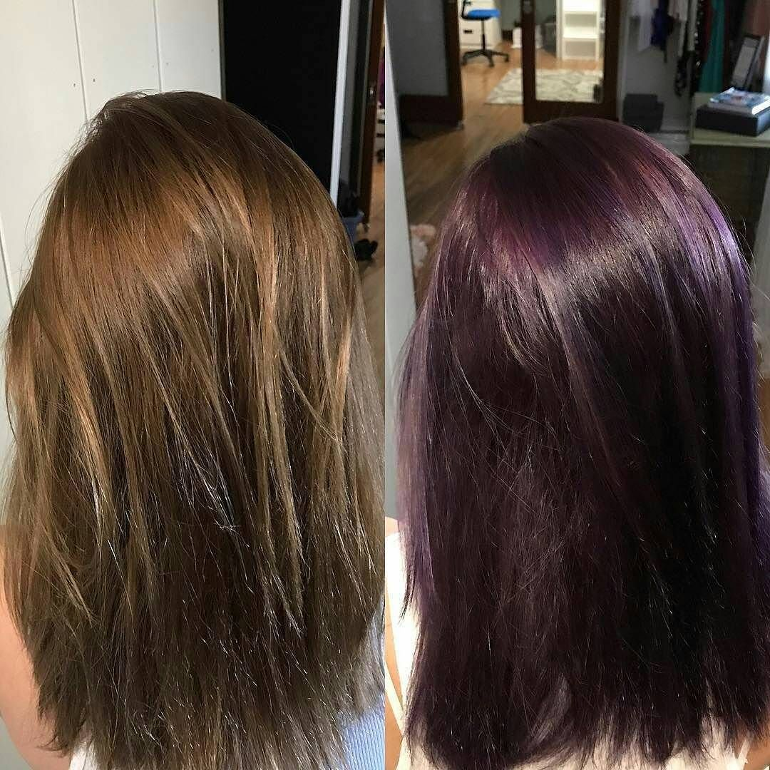 Overtone Overtonecolor On Instagram Erin Degroot Before And After With Overtonecolor Extreme Purple Deep Condit Fox Hair Dye Hair Highlights Hair Color