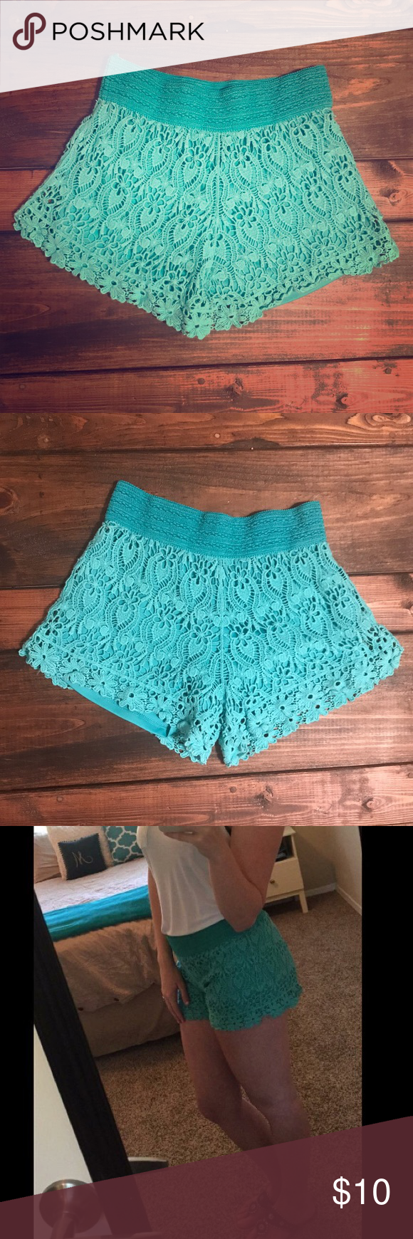 Lace Shorts Super cute teal lace shorts in great condition! Only worn a couple of times!! Shorts
