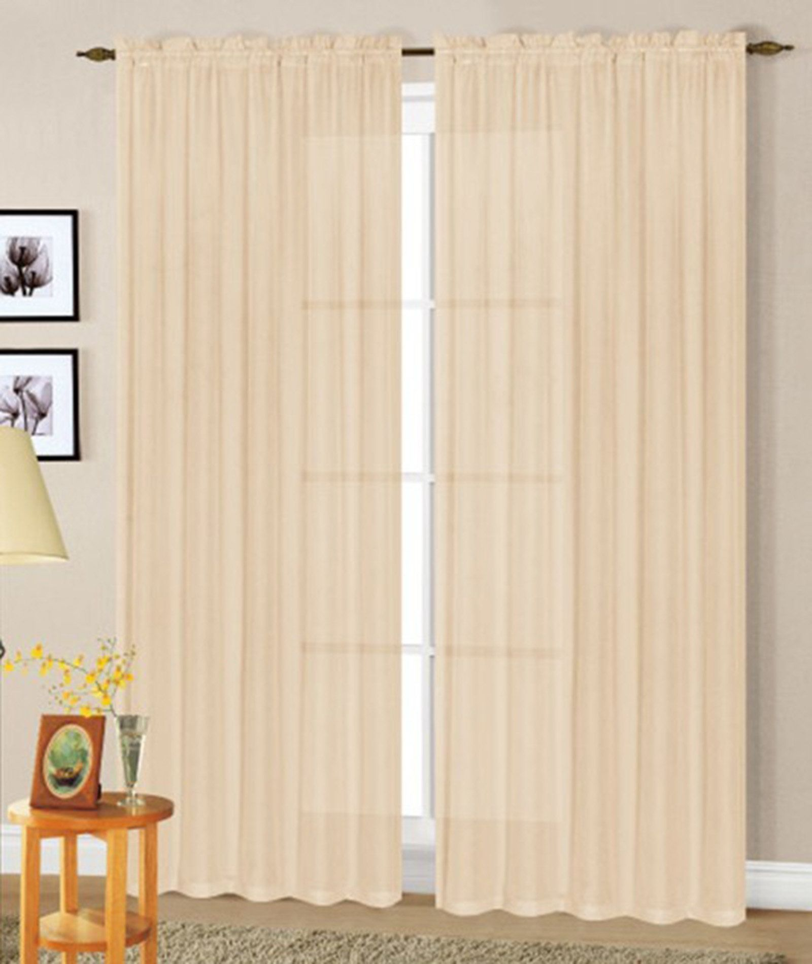 Smithfield luxurious solid sheer rod pocket curtain panels