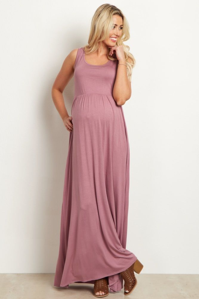 ef3c307f9ea128 Mauve Basic Sleeveless Maternity Maxi Dress