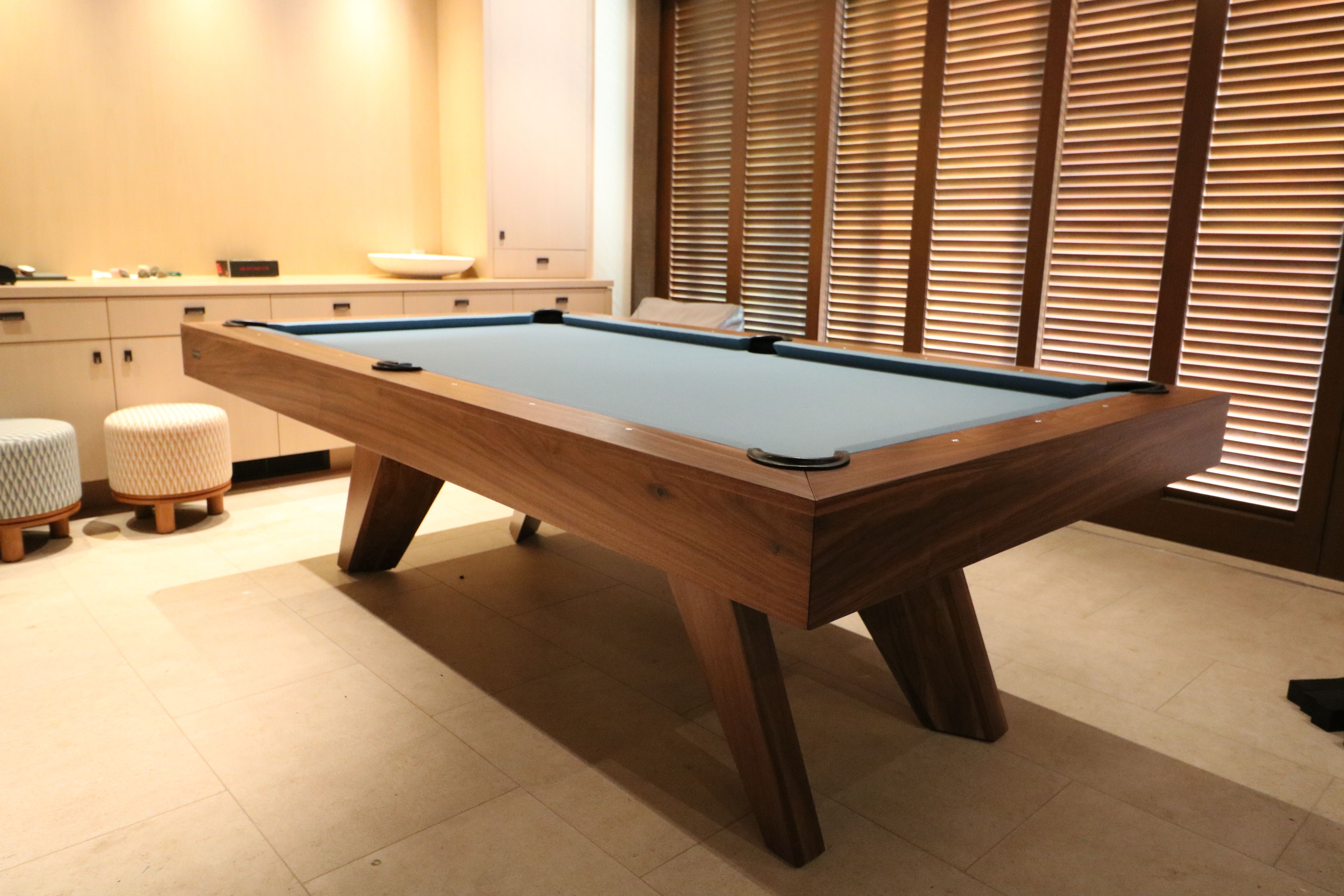 The Trigon S Splayed Legs Invoke Classic Mid Century Design And Emulate Eames Bertoia Cherner S Modern Pool Table Mid Century Modern Pool Table Modern Pools