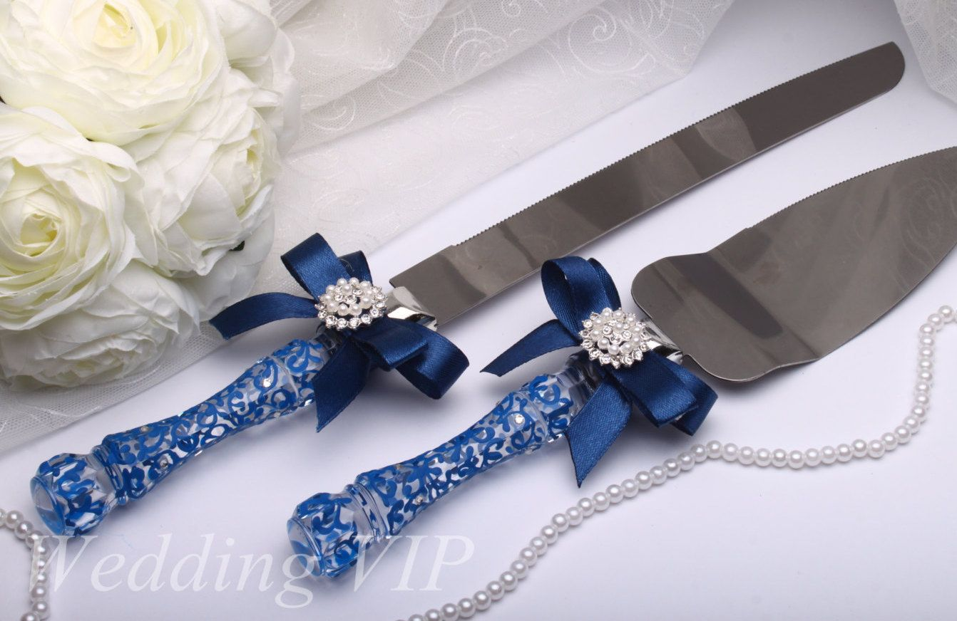 Cake Server Set Navy blue - Hand-PAINTED - Cake servers and knives ...
